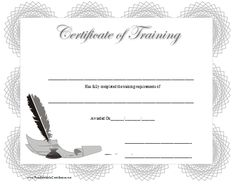 A grey and black certificate of training with a geometric border and an illustration of a feather pen in an ink well along with sheets of paper. Free to download and print