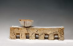"""Patricia Sannit: Aquaduct, 2010, 9""""x22""""x4"""", cast found and reclaimed clays, slip and stain"""