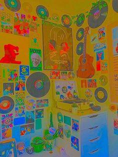 Indie Room Decor, Indie Bedroom, Cute Room Decor, Aesthetic Room Decor, Chambre Indie, Retro Bedrooms, Neon Room, Chill Room, Dorm Rooms Decorating