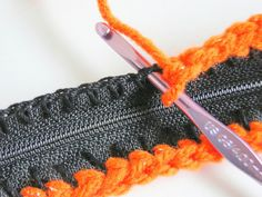 Zipper Bag:: This is a crochet DIY, but imagine starting at zipper with buttonhole stitch, then chain, then pick up & KNIT!  [Find more pins like this from Aunt Ruth at https://www.pinterest.com/yrauntruth/fiber-knit-techniques-tutorials/ ]