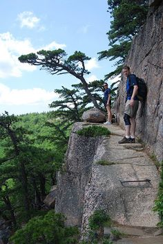 Hiking the Beehive Trail in Acadia National Park, Maine Iron rungs on ledges of exposed cliffs, very steep, very awesome! 100 feet north of Sand Beach Parking Area. Round Trip Distances miles km Oh The Places You'll Go, Places To Travel, Places To Visit, Rafting, Gros Morne, Destinations, Acadia National Park, Camping And Hiking, Backpacking