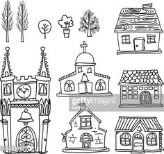 Vector Art : House collection in black and white