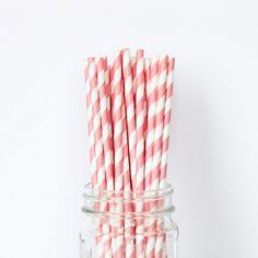 Light Pink Striped Straws