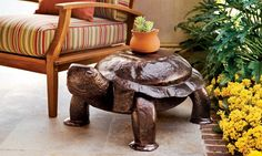 Hand-Hammered Turtle Side Table - Great addition to a patio! l Beach Cottage - Beach Home l www.CarolinaDesigns.com