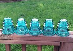 Glass Insulator Lot Of 5 - Hemingray 42 BLUE Antique Glass Insulator