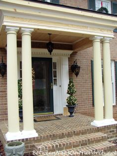 Love the detail on the frieze(?). Build Small Front Porch With Columns