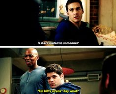 """Is Kara mated to someone?"" - Mon-El, James and Winn #Supergirl"