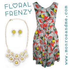 Floral frenzy! #floral #dress #daisies #statementjewellery #louche #style #fashion #summer #shopnow #monroeandme #freedelivery #dubai #abudhabi #uae #qatar #bahrain #kuwait #saudiarabia #oman #egypt #cyprus #jordan #lebanon  http://www.monroeandme.com/uae-catalogue/brands/louche/chica-bird-print-bright-dress/c-24/c-134/p-2764