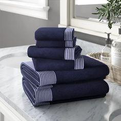Jenkinsburg 6 Piece Cotton Towel Set – Best Towel Models and Patterns 2020 Navy Bathroom, Grey Bathrooms, Bathroom Towels, Cotton Towels, Hand Towels, Towel Display, Decorative Towels, Modern Light Fixtures