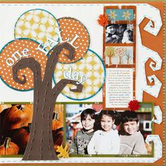 Fall Scrapbook Layout Ideas: Mimic Colorful Fall Trees for an Autmn-Inspired Scrapbook Page