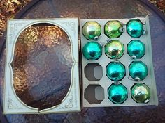 10 Vtg Shiny Brite Glass Round Christmas Ornaments In Box Blue & Green