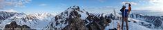 https://flic.kr/p/bD48Fq | SKI-AK-01789.jpg | Panorama of Eric Parsons deskinning his split board snowboard on top fo Peak 4, Chugach Mountains, Alaska.  Shot with the Fujifilm X10