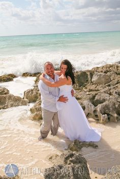 Sarah and Anthony.  #brideandgroom #mrandmrs #bride #groom #beach #waves #beachwedding #anthonyziccardistudios #aziccardi