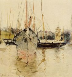 Boats - Entry to the Medina in the Isle of Wight Berthe Morisot, 1875, watercolor on paper, 17.5 x 19 cm