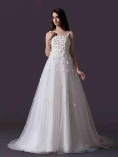 ランディブライダル ウェディングドレス エンパイア ストラップ コートトレーン 可愛い小花ドレス 挙式 ブライダル 結婚式 B14TB0004