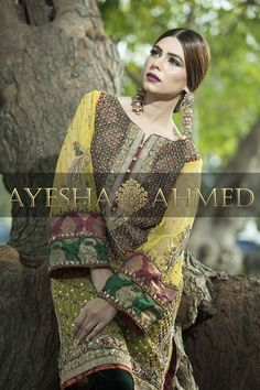 Ayesha Ahmed Studio Pakistani Party Wear, Pakistani Wedding Outfits, Pakistani Dresses, Bridal Mehndi Dresses, Mehndi Outfit, Stylish Dress Designs, Shadi Dresses, Classy Suits, Desi Clothes