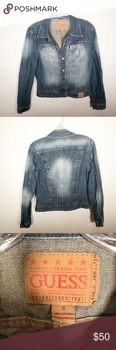 GUESS distressed denim jacket Guess denim jacket Size small Excellent  condition M-0106 Guess Jackets 67ba061711c9f