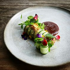 Pickles Cucumber Ribbon l Rolled Spicy Thai Wagyu Beef Salad l Sweet Sour Sauce