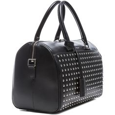 Saint Laurent Studded Duffle 6 Bag (£1,015) ❤ liked on Polyvore featuring bags, handbags, studded handbags, decorating bags, embellished purses, key ring y duffle bag