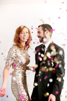 For something a little more formal, grab your guy and your most sparkly dress to make a statement in your photos. And don't forget your smile! | Photo: Alea Lovely | See more confetti wedding details here: http://www.mywedding.com/articles/confetti-wedding-details/
