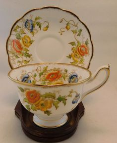 Royal Albert Gold Rimmed Yellow and Orange Roses Scalloped Tea Cup and Saucer - Floral pattern is Yellow and Orange Summer Roses and Blue Grapes. This is an older pattern, from the late 1920 - early 1930s. | eBay!