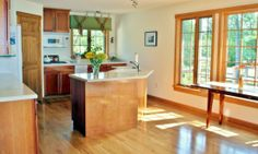 A modern, spacious kitchen with beautiful views from Hayden Point House.