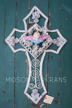 Antique Vintage French Beadwork Cross Crucifix by MIDSOMMARKRANS, €288.00