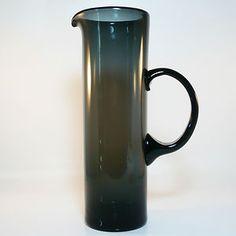 WMF Glas Krug • Wagenfeld Ära • Höhe 27 cm • Rauchfarbenes Glas