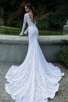 Lace wedding gown with a train.
