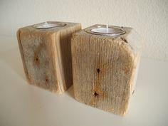 --CUBE III--  Zwei einmalige Kuben aus Treibholz,die zu schöne Teelilchthalter verwandelt wurden. Bei einem Kubus ist eine Kante abgeschnitten, was...