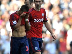 West Brom are reduced to ten-men when Peter Odemwingie lashes out at Fulham right-back Sascha Riether.