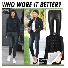 """""""Who Wore It Better?Kylie Jenner or Shay Mitchell in Express Edition Beaded Military Jacket"""" by kusja ❤ liked on Polyvore featuring Balenciaga, Manolo Blahnik, adidas Originals, WhoWoreItBetter, shaymitchell, KylieJenner and wwib"""
