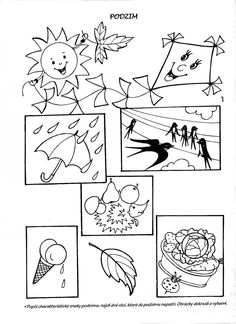 klikni pro další 29/384 Autumn Activities For Kids, Fall Crafts For Kids, Autumn Crafts, Preschool Worksheets, Free Coloring Pages, Educational Activities, Seasons, Teaching, Children