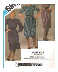 Vintage Sewing Pattern Uncut Misses Dress Sizes 10 12 14 Simplicity 6437
