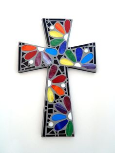 "Mosaic Wall Cross, Rainbow Floral Design, ""Daisies"", Multicolored/Bright Handmade Stained Glass Mosaic 15"" x 10"" by GreenBananaMosaicCo, $75.00                                                                                                                                                                                 Más"