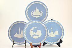 Wedgwood, Wedgwood Jasperware, Wedgwood Jasperware Christmas Plates, Blue Jasperware Christmas Plates, Vintage Wedgwood Jasperware Set of 5 #etsy #vintage #EtsyGifts