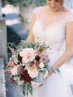 Lush, Romantic Bouquet with Dahlias | Brides.com