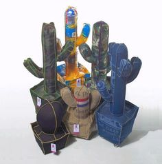 Cactus made of reused Denim, Food packaging, Old rain covers, Vintage textiles.