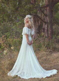 Bohemian Wedding Dress 1970s Hippie Bohemian by DaughtersOfSimone, $2,550.00