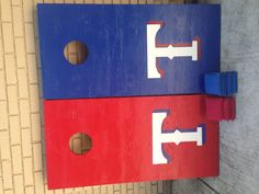 Just finished making our Texas Rangers cornhole boards in time for summer outdoor game watching!