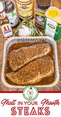 Sauce Steak, Steak Braten, Steak Marinade Recipes, Grilling Recipes, Beef Recipes, Cooking Recipes, Strip Steak Marinade, Gourmet, Recipes