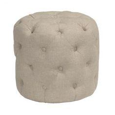 Margot Buttoned Stool in beige linen. £135