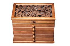 Rose Carved Six Layer Wooden Jewelry Box Burlywood