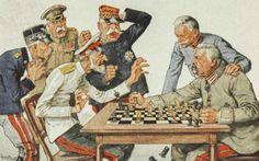 Schach-Karikatur von Theo Zasche - Generalfeldmarschall Hindenburg bietet den Feinden Deutschlands Schach Painting, Enemies, Chess, Lyric Poetry, Soldiers, Poetry, Literature, Painting Art, Paintings