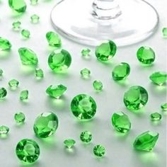 Green Diamond Table Confetti Decor #wedding #mitzvah #emerald