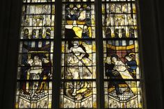 Katholische Pfarrkirche Notre-Dame des Marais in La Ferté-Bernard, Sarthe (Pays de la Loire-Frankrijk), Bleiglasfenster von 1481-1483; hl. Georg(detail)