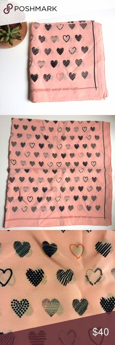Moschino Heart Print Valentines Pink Silk Scarf Moschino Cheap and Chic Heart Print Pink Silk Scarf. Little doodle hearts, so cute. A big square scarf you can wear a bunch of ways. Love! Never worn, perfect condition. ❤️❤️❤️ Moschino Accessories Scarves & Wraps