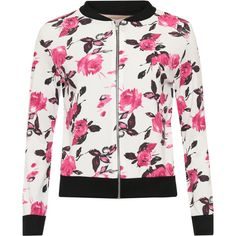 Ghislaine Floral Crepe Bomber Jacket (1,425 DOP) ❤ liked on Polyvore featuring outerwear, jackets, cerise, floral jacket, flight jacket, bomber jacket, floral print jacket and zip up jackets