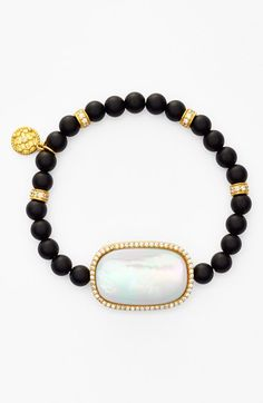 Station Onyx Bead Stretch Bracelet