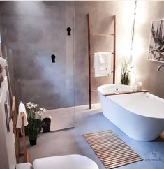 Dreaming of an extravagance or designer master bathroom? We've gathered together lots of gorgeous bathroom some ideas for small or large budgets, including baths, showers, sinks and basins, plus master bathroom decor suggestions. Boho Bathroom, Bathroom Inspo, Bathroom Styling, Bathroom Inspiration, Small Bathroom, Master Bathroom, Bathroom Grey, Bathroom Ideas, Bathroom Shelves